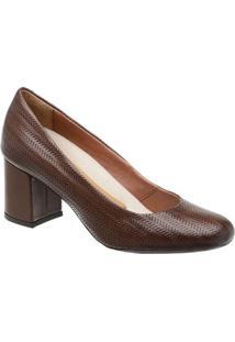 Sapato Tradicional Em Couro- Marrom Escuro- Salto: 6Mr. Cat