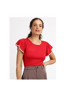 Blusa Feminina Em Tricô Com Babado Na Manga Decote Redondo Vermelha