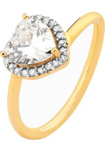 Anel Coração Cristal Design Cravejado Banhado A Ouro 18K
