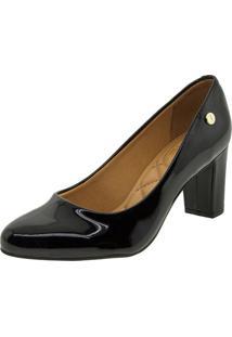 1dcd239bc Clóvis Calçados. Sapato Com Salto Feminino Preto Verniz Vizzano ...