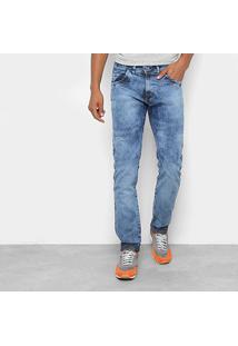 Calça Jeans Skinny Coffee Marmorizada Cintura Média Masculina - Masculino-Azul