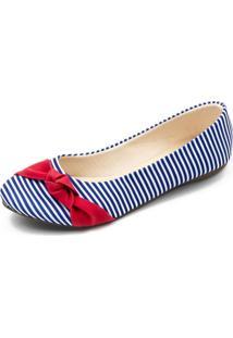 Sapatilha Listrada Com Laã§O Vermelho Megachic - Azul - Feminino - Dafiti