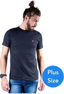 Camiseta Mister Fish Gola Careca Basic Plus Size Masculina - Masculino-Preto