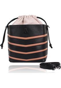 Bolsa Campezzo Bucket Bag Preta E Nude