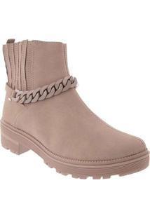 Bota Ankle Boot Dakota Detalhe Em Corrente Nude Ro