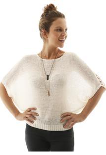 Blusa Aha Lisa Croch㪠Ponto Vazado Costas Off- White - Off-White - Feminino - Dafiti