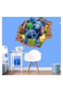 Adesivo De Parede Buraco Falso 3D Infantil Stitch 02 - G 82X100Cm