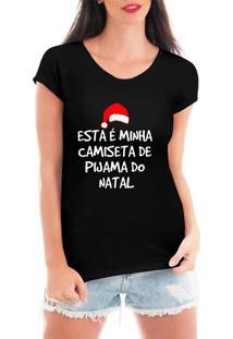 Camiseta Feminina Frases Engraçadas De Natal Presente Preta