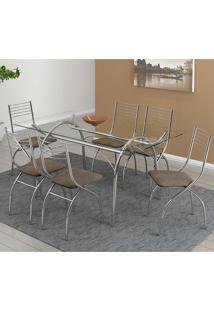 Mesa 379 Com Vidro Incolor Cromada Com 6 Cadeiras 146 Camurça Conhaque Carraro