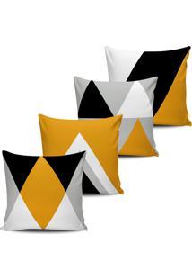 Kit 4 Capas Almofadas Geometrica Mellow Yellow Preto 45X45Cm - Tricae