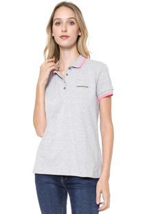 Camisa Polo Calvin Klein Jeans Logo Cinza