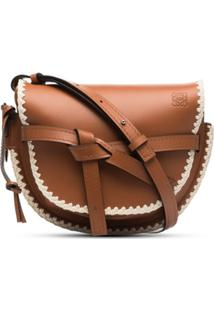 Loewe Brown Gate Crochet Small Leather Shoulder Bag - Marrom