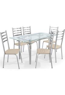 Conjunto Mesa Elba C/ 6 Cadeiras Alemanha Cromado/Nude Kappesberg