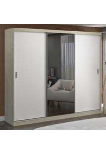 Guarda-Roupa Casal 3 Portas Com 1 Espelho 100% Mdf 1903E1 Marfim Areia/Branco - Foscarini