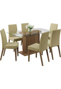 Conjunto Sala De Jantar Madesa Mesa Com Tampo De Vidro E 6 Cadeiras Carla - Rustic/ Saara