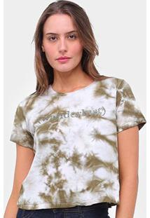 Camiseta Lecimar Tie Dye Wanderlust Feminina - Feminino-Verde Escuro