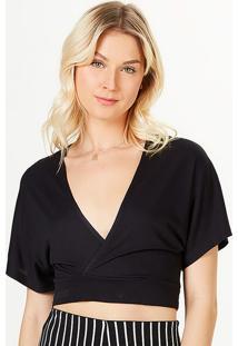 Blusa Cropped Decote Em V Transpassada