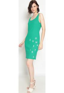 Vestido Canelado ''Zoomp 1974''- Verde Branco- Zoozoomp