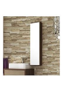 Armário Para Banheiro Com Espelho Na Porta 25Cm Mdf Nogal