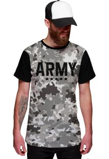 Camiseta Di Nuevo Camuflada Army Preta
