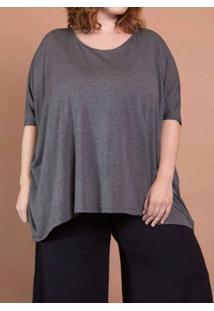 Blusa Ampla Plus Size Grafite Cinza