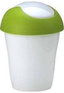 Lixeira Plástica Com Tampa Basculante 2.4 Lts Branca E Verde