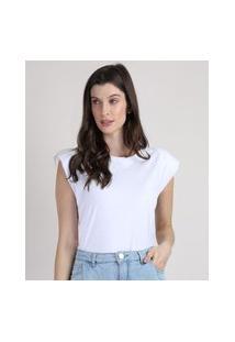 Regata Feminina Muscle Tee Mindset Com Ombreiras Decote Redondo Branca