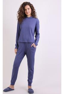 Pijama Feminino Canelado Com Capuz Manga Longa Azul