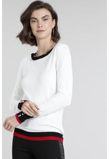 Suéter Feminino Em Tricô Com Pérola Decote Redondo Off White