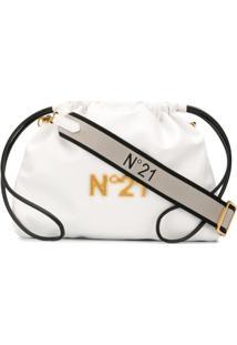 Nº21 Bolsa Transversal Com Placa De Logo - Branco