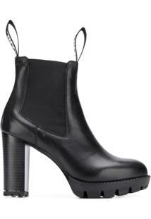 Karl Lagerfeld Ankle Boot Plataforma De Couro - Preto