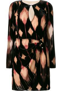 Pinko Vestido De Veludo Estampado - Preto