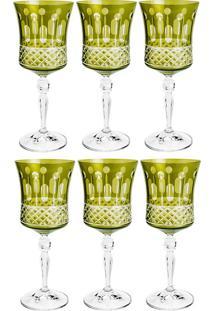Jogo De Taças Para Vinho 6 Peças 250Ml Grace Saphire - Bohemia - Verde