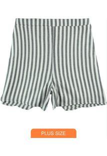 Shorts Preta Alfaiataria Listrado