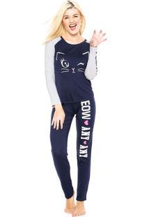 Pijama Any Any Meow Azul-Marinho
