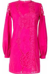 Costarellos Vestido Com Bordado E Detalhe De Recorte Vazado - Vermelho