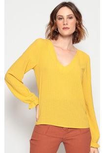 Blusa Texturizada Com Elã¡Stico - Amarela - Chocoleitchocoleite