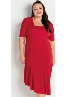 Vestido Midi Vermelho Em Camadas Plus Size