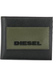 Diesel Carteira Dobrável Com Logo - Preto
