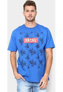 Camiseta Fatal Flores Masculina - Masculino-Azul Royal