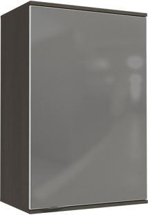 Armário Aéreo Cozinha 1 Porta Com Vidro Inox Onix/Steel - Kappesberg
