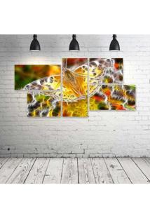Quadro Decorativo - Butterfly-Neon-(2) - Composto De 5 Quadros