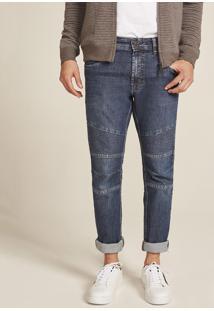 Calça Jeans Masculina Skinny Com Recortes Azul Escuro