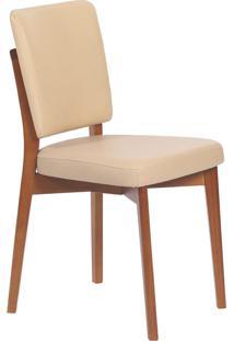 Cadeira Estofada Tramontina 14200/131 Berlim Madeira Amêndoa/Bege