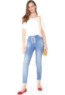 Calça Jeans Skinny Amarração E Zíper