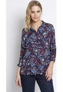 Camisa Abstrata- Azul Marinho & Azul Royal- Intensintens