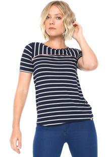 Camiseta Lunender Listrada Azul-Marinho