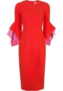 Roksanda Vestido Midi Com Mangas Estruturadas - Vermelho