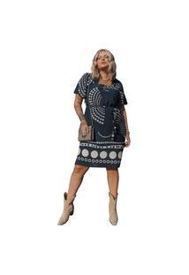 Vestido Curto Almaria Plus Size She Brand Decote Quadrado Preto