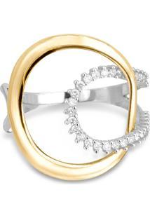 Anel Circolare Ouro Amarelo Ouro Branco E Diamantes Grande